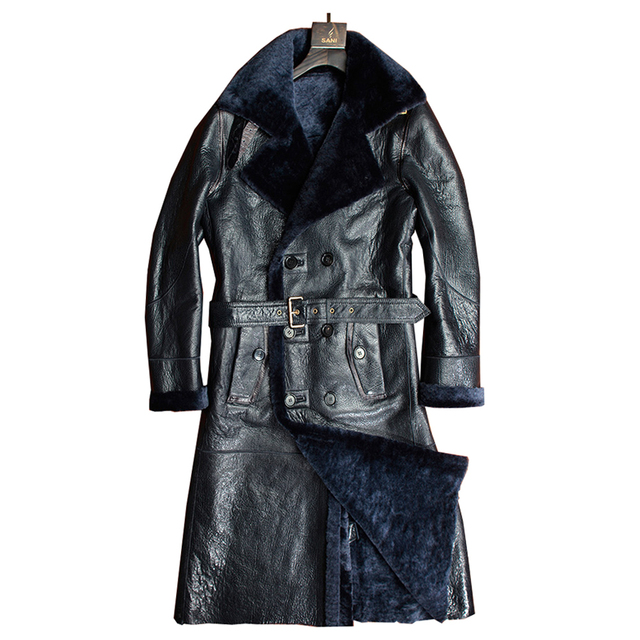 Real Sheepskin Fur Coat Genuine Leather Men Formal Winter Long Thick Jacket Sheepskin Shearling Fur Outwear 4XL 5XL Sheepskin