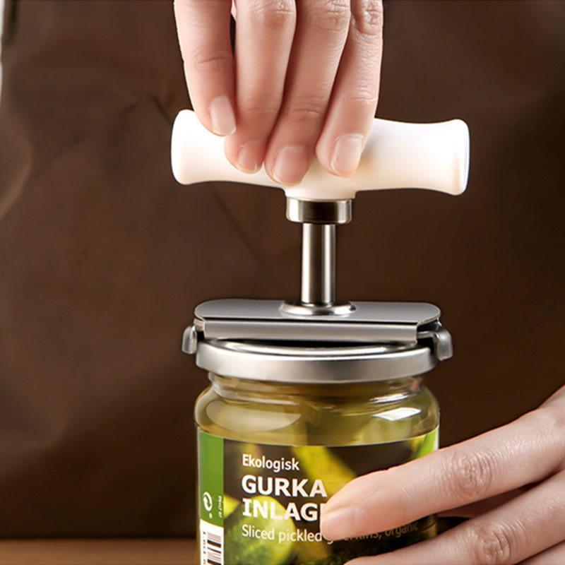 Kitchen Manual Bottle Jar Opener Seasoning Cap Opener Adjustable Stainless Steel Spiral Seal Lid Remover Screw Can Cap Opener