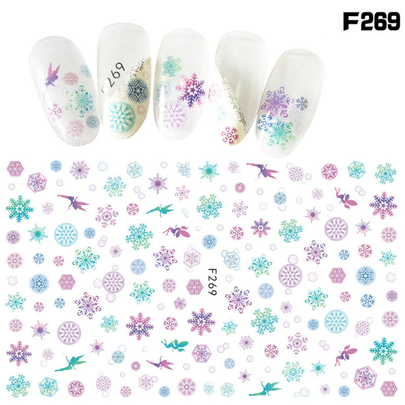 Self Adhesive Nail Art Sticker Christmas Snow Flakes Flower Sun Moon Rose Manicure Decals Diy Nails Wraps Beauty Tools Gift In Stickers From