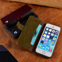 Pierre Cardin Genuine Leather For Apple iPhone 5/5s/SE Case Luxury Wallet Phone Bag Flip Style Cover Cases Free shipping