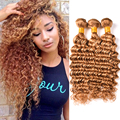Blonde Deep Wave Brazilian Hair Weave Bundles #27 Honey Blonde Brazilian Deep Wave Virgin Hair 3 Bundles Brazilian Curly Hair