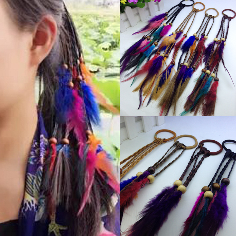 2Pc Fashion Wig Braids With Feather Wooden Beads Kids Elastics Dirty Hair Bands Children Girl Cute Hair Accessories Hair Rope new fashion cute double ball hair ring candy color rubber bands hair rope hair accessories for women girl children kids