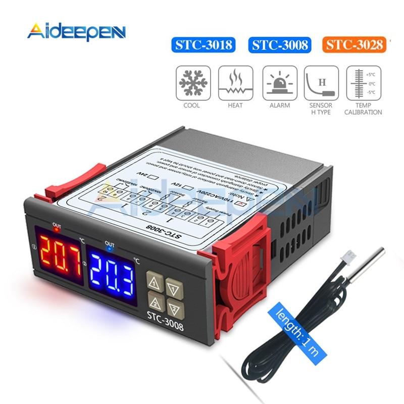 STC-3008 STC-3018 STC-3028 digital duplo temperatura umidade controlador termostato 10a com sensor ntc sonda termorregulador