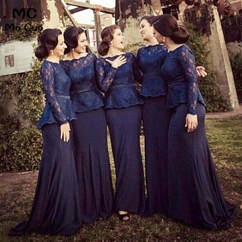 Long Sleeve 2018   bridesmaid     dresses   vestidos de madrinha robe Wedding party   Dress   vestido de Red Appliques Lace   bridesmaid     dress