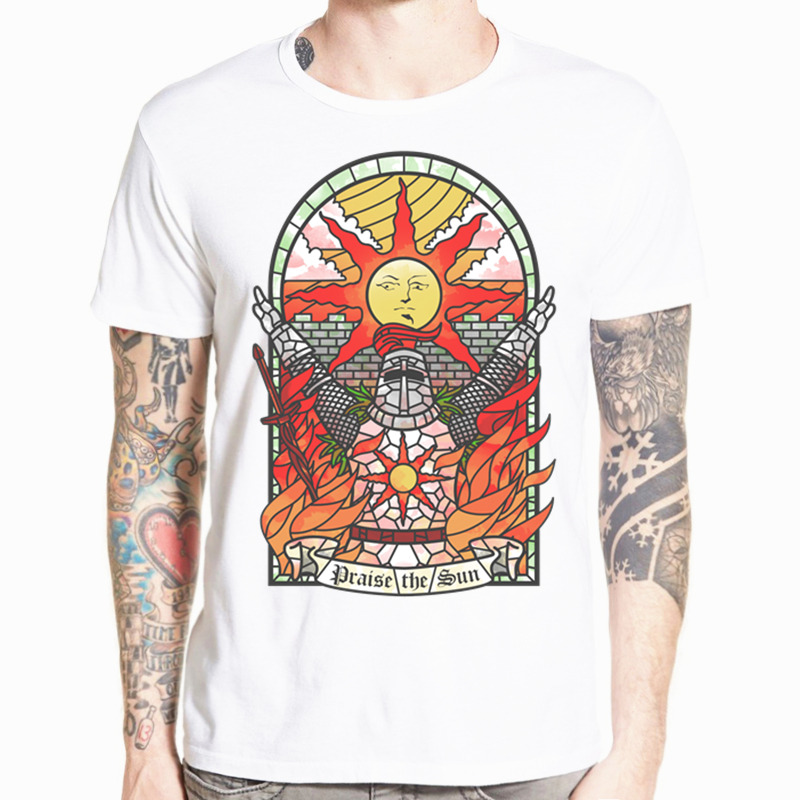 Asian Size Print dark souls Place the Sun Game   T  -  shirt   Short sleeve O-Neck   T     shirt   For Men And Women HCP4496