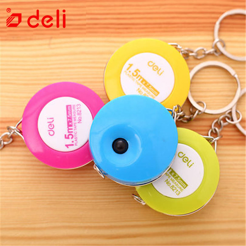 Deli 1pc Retractable Ruler Multi-color Sewing Tape Measure 1.5M Tailor Seamstress Flexible Sewing Cloth Messure Accessaries 8213