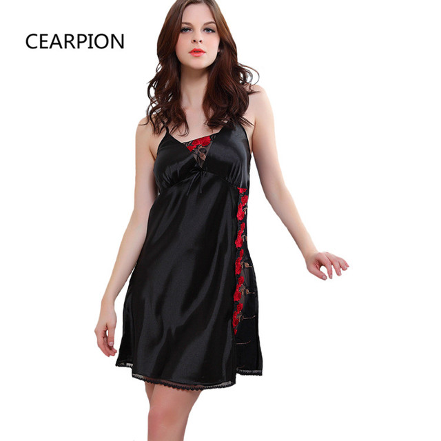 CEARPION Black Sexy Nightdress Women Lace Nightgown Embroidery Floral  Sleepwear Short Suspender Nighty Nightwear Soft Home Wear 621e6e715