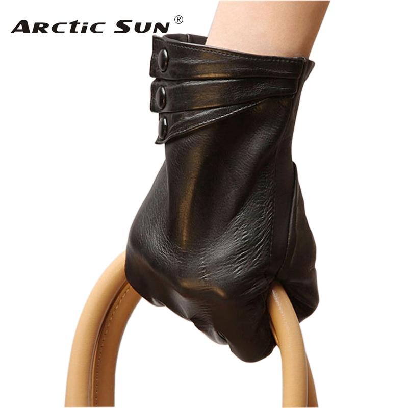Brand Genuine Leather Gloves High Quality Women  Sheepskin Gloves Touch Screen Winter Plus Velvet Finger Driving Glove L003NC1