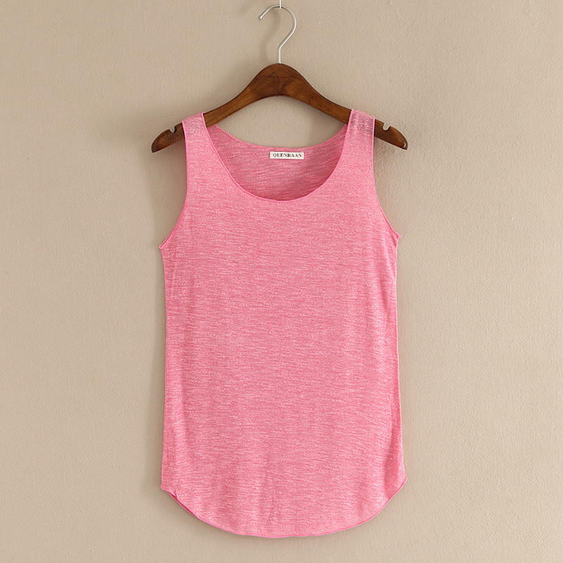 Spring Summer New Fitness Tank Tops Kvinnor Ärmlös Runda Neck Loose T-shirt Ladies Vest Singlets Slim T-shirts Kvinna Kläder