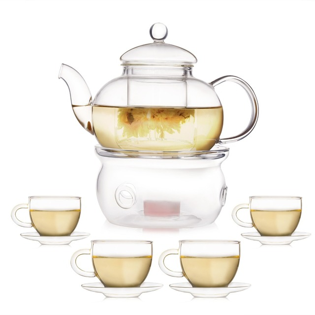 Glas Teekanne 600 ml borosilikat hitzebeständigem glas teekanne set infuser
