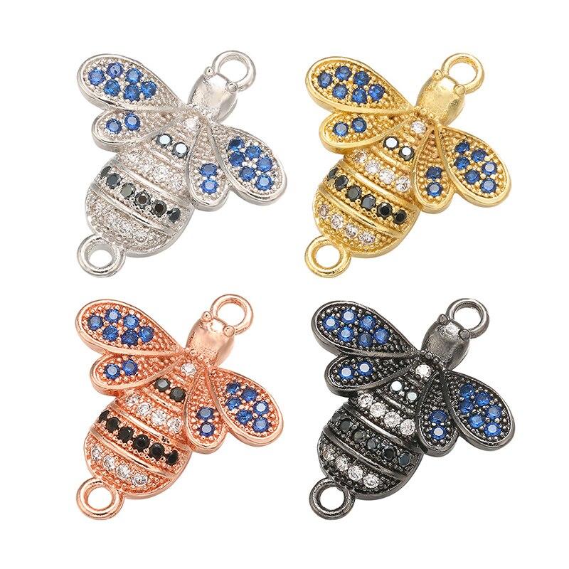 ZHUKOU 17x20mm Brass Bee Connectors For Women Necklace Earrings Bracelet Jewelry Accessories Findings Model: VS384