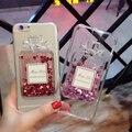 Nueva Encantadora Señorita muchacha de lujo perfume 3D Liquid Quicksand caso de TPU Suave cubierta para iphone 6 6 s 6 más 5 5S so cubierta con correa