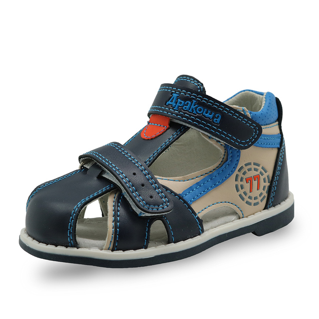 Apakowa 2019 summer kids shoes brand closed toe toddler boys sandals orthopedic sport pu leather baby boys sandals shoes 1