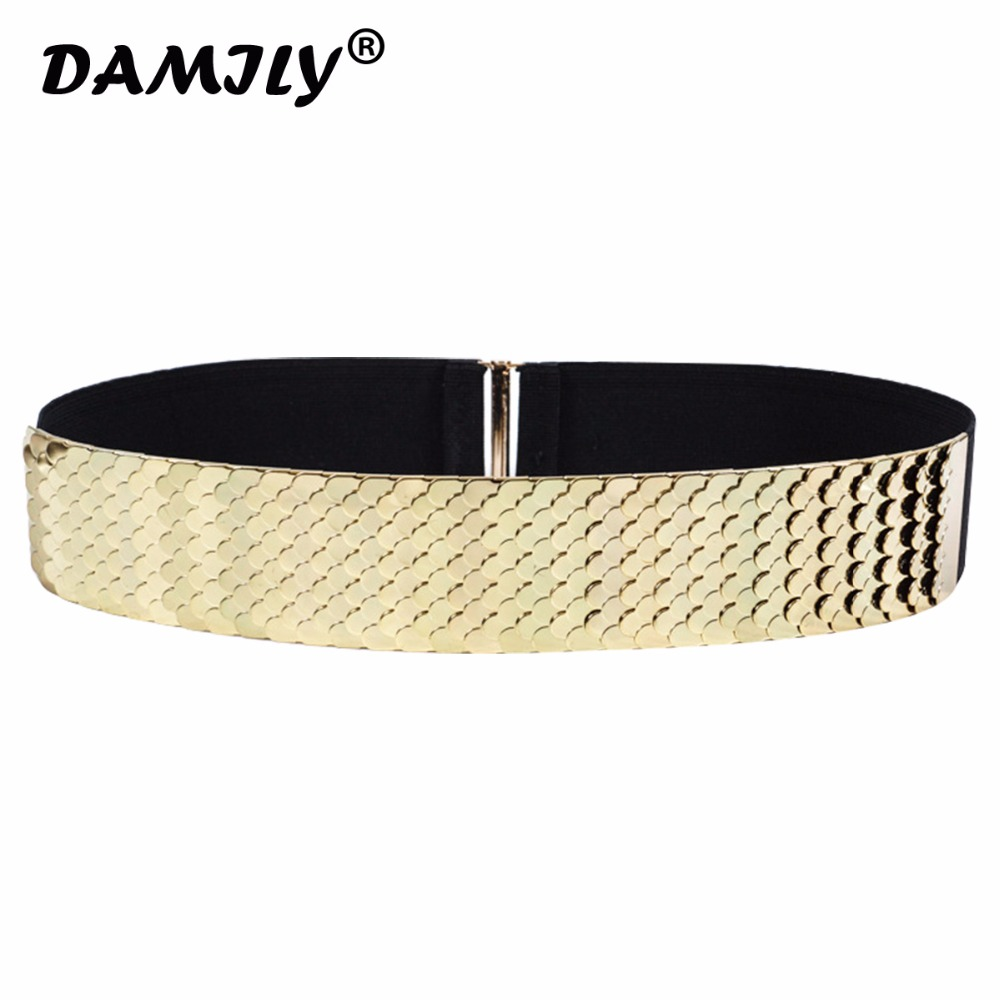 2018 1PC Sexy Lady Women Elastic fish scale pattern Metal Waist Belt Metallic Bling Gold Wide Band For Female