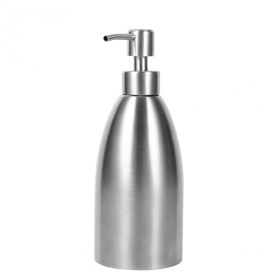 Fdit 500ml Stainless Steel Soap Dispenser Kitchen Sink Faucet Bathroom Shampoo Box Soap Container Deck Mounted Detergent Bottle