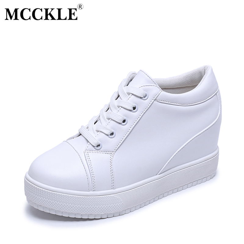 MCCKLE Female Flat Lace Up Platform White Autumn Shoes 2017 Women's Fashion Comfortable Casual Style Brand Office Vulcanize mcckle 2017 fashion woman shoes flat women platform round toe lace up ladies office black casual comfortable spring