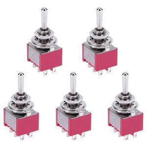 5 adet Mini 3 pozisyon 6Pin geçiş anahtarı MTS-223 çift sıfırlama güç anahtarı AC 250V 2A AC 5A 120V otomatik dönüş Rocker anahtarı