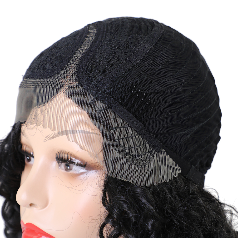 Element Glueless Side Part Kort Curly Afro L Parti Swiss Synthic Lace - Syntetiskt hår - Foto 6
