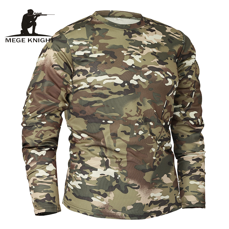 Mege Brand Clothing New Autumn Spring Men Long Sleeve Tactical Camouflage   T  -  shirt   camisa masculina Quick Dry Military Army   shirt