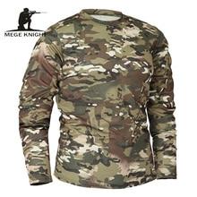 Mege – T shirt tactique à manches longues pour homme, vêtement de marque en tissu à séchage rapide, style militaire, pour automne et printemps