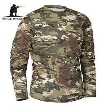 Mege Thương Hiệu Quần Áo Mới Thu Mùa Xuân Nam Tay Dài Chiến Thuật Ngụy Trang Áo Thun Camisa Masculina Thoáng Quân Sự Quân Đội Áo Sơ Mi
