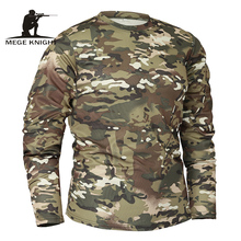 Mege แบรนด์เสื้อผ้าฤดูใบไม้ร่วงฤดูใบไม้ผลิใหม่ผู้ชายแขนยาวยุทธวิธี Camouflage เสื้อยืด camisa masculina ด่วนแห้งกองทัพทหารเสื้อ