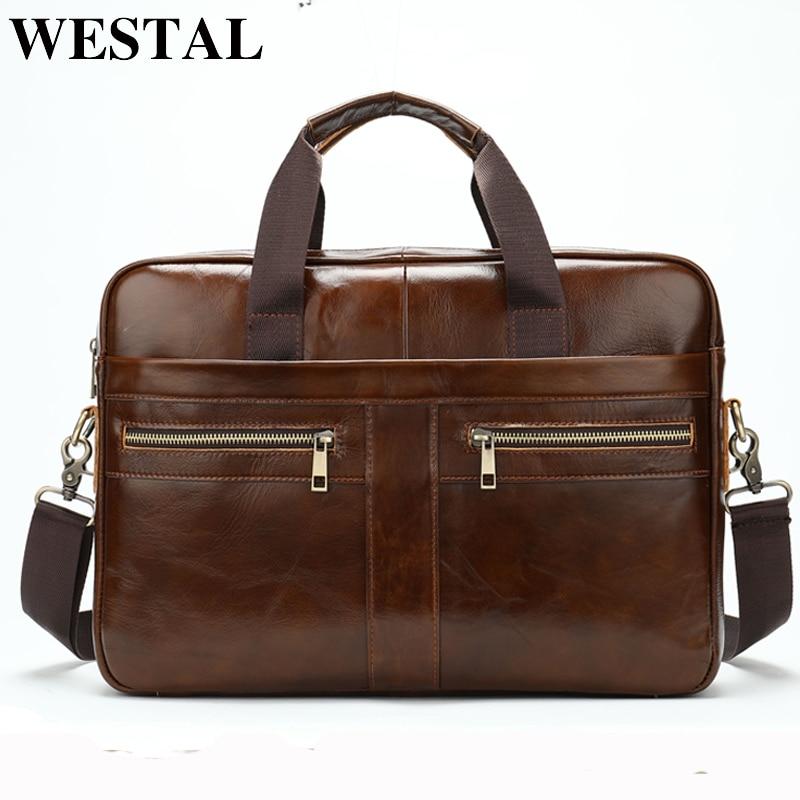 10e7d1313 WESTAL bolso de cuero genuino de los hombres para hombres, bolsos de  mensajero, para el ordenador portátil de hombre hombro/bandolera, bolsos,  maletines ...