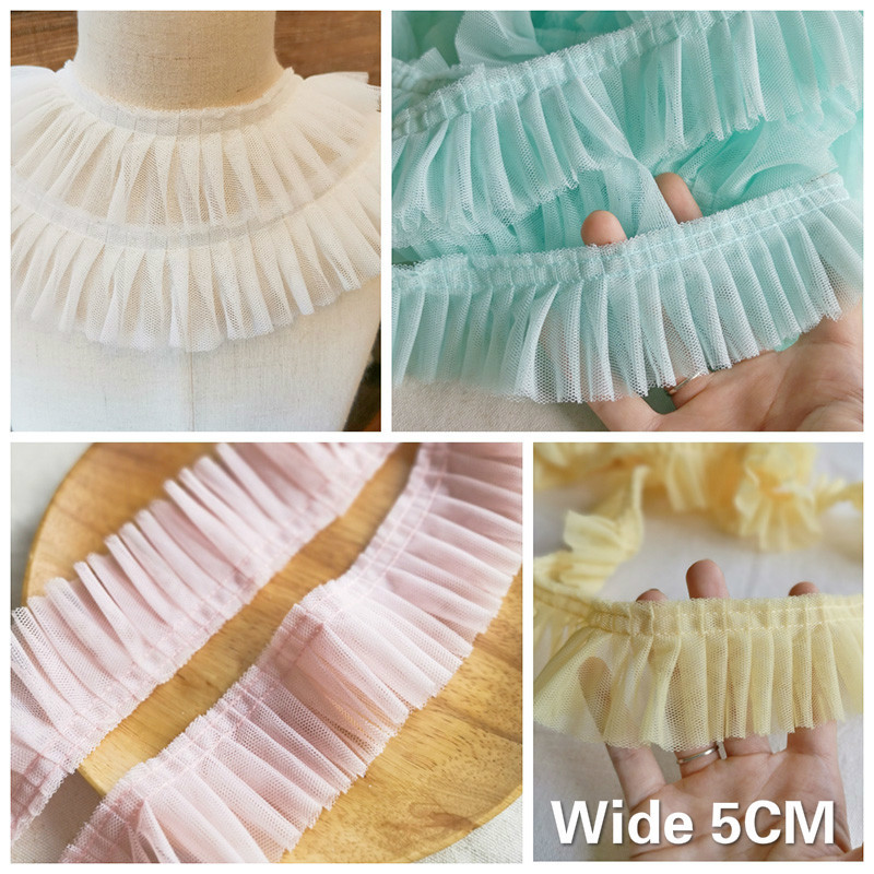 5CM Wide Double Layers Pleated Mesh 3D Lace Applique Guipure Ruffle Trim Dress Collar Lace Ribbon For DIY Sewing Supplies 4Color(China)