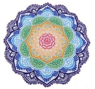 147*147 CM Rotonda Telo Mare Arazzo Nappa Decor Con Le Palle Circolare Tovaglia Yoga Stuoia di Picnic di Loto Floreale Blu rosa Giallo