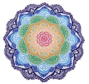 Image 1 - 147*147 CM Runden Strandtuch Tapisserie Quaste Decor Mit Kugeln Rund Tischdecke Yoga Picknick Ankunfts lotus blumen Matte Blau rosa Gelb