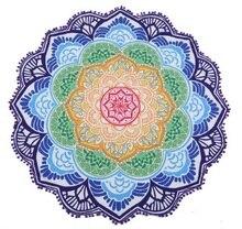 147*147 cm 둥근 비치 타월 태피스트리 술 장식 원형 식탁보 요가 피크닉 연꽃 꽃 매트 블루 핑크 옐로우