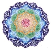147*147センチラウンドビーチタオルタペストリータッセルの装飾でボール円形テーブルクロスヨガピクニック蓮の花マットブルーピンクイエロー