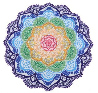 147 147CM Round Beach Towel Tapestry Tassel Decor With Balls Circular Tablecloth Yoga Picnic Lotus Floral