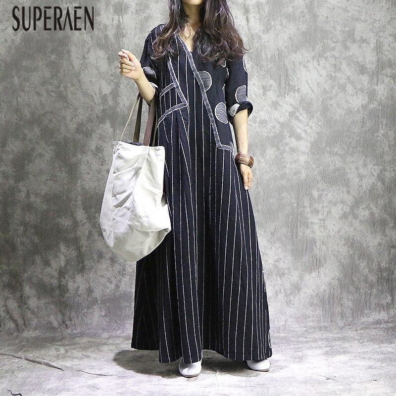 SuperAen Retro Irregular costura mujeres vestido largo otoño Nuevo 2018 algodón Casual señoras vestido Vintage tamaño grande vestidos sueltos-in Vestidos from Ropa de mujer    1