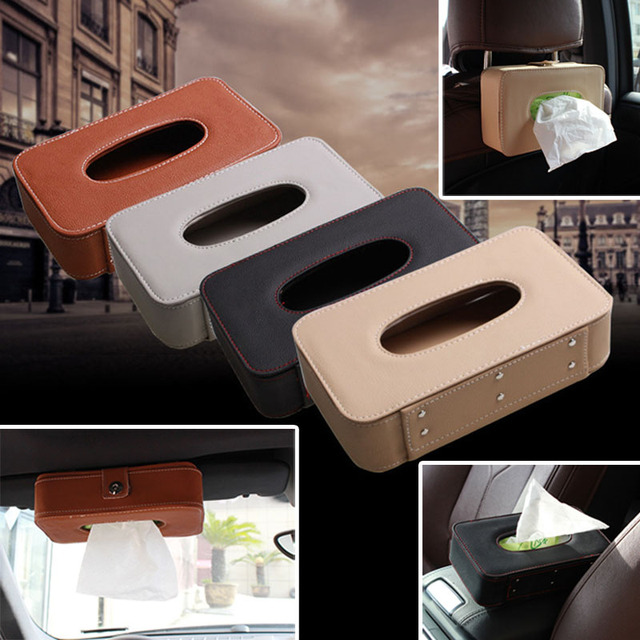 Car Styling Elegant Pattern Household Tissue Box Holder Microfiber Leather Container   Accessories For Home Office Vehicle