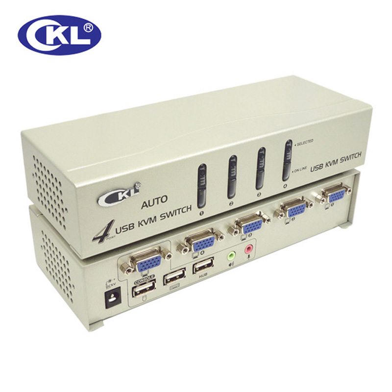 CKL 4 Port USB 2.0 VGA KVM Switch With Cables Support Audio Auto Scan, PC Monitor Keyboard Mouse DVR NVR Switcher CKL-84UA