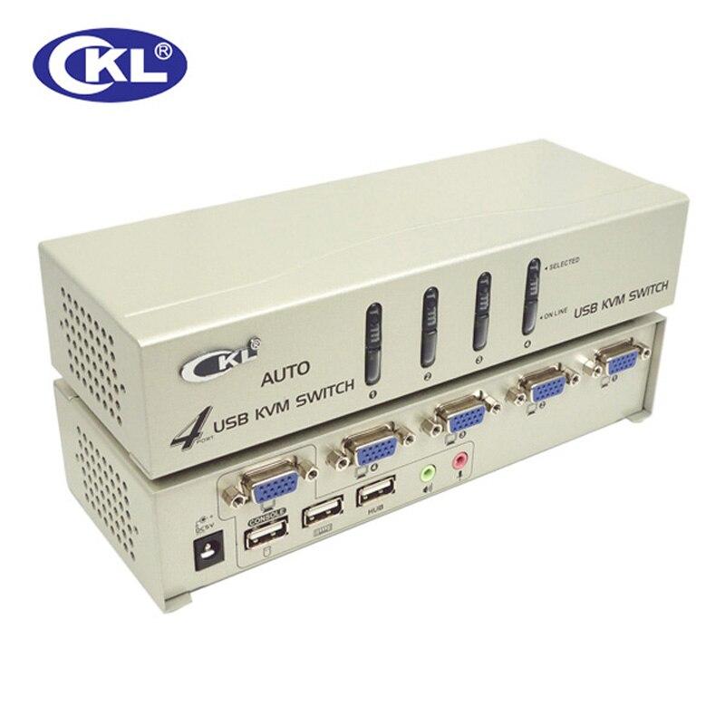 CKL 4 ports USB 2.0 VGA KVM commutateur avec câbles prise en charge Audio Auto Scan, PC moniteur clavier souris DVR NVR commutateur CKL-84UA