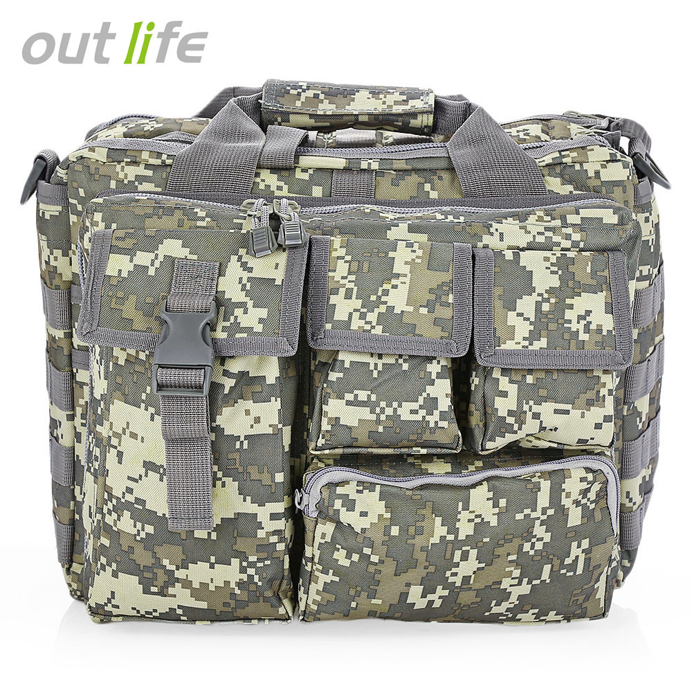 Outlife Outdoor Fishing Military Tactical Bag Computer Shoulder Bags Rucksack Handbag Briefcase for Hiking 14 inch Laptop Camera