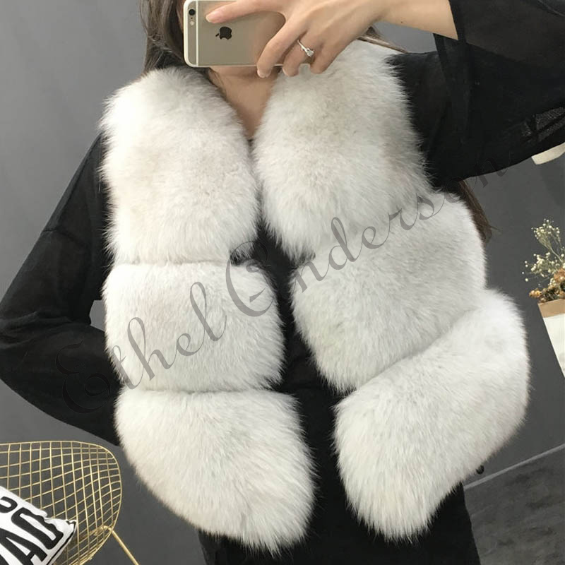 Ethel Anderson Fashion Women's Real Fox Fur Vest 3 Rows CROPPED FOX FUR VESTS Waistcoat Sleeveless Coat Female Fur Gilet