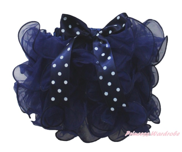 Sailor Navy Blue Petal Pettiskirt Dot Bow Baby Girl Tutu Skirt Dance NB-8Y
