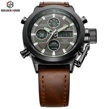 GH classic fashion men's sport leisure dual display watch quartz waterproof military watch relogio masculino