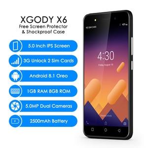 Image 2 - XGODY X6 3G Dual Sim Smartphone Android 8.1 Oreo 5 Inch 5MP Camera Mobile Phone MT6580M Quad Core 1GB+8GB 2500mAh Cellphone GPS