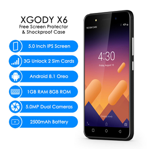 Image 2 - XGODY X6 3G çift Sim Smartphone Android 8.1 Oreo 5 inç 5MP kamera cep telefonu MT6580M dört çekirdekli 1GB + 8GB 2500mAh cep telefonu GPS