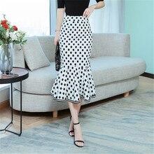 Slim Skirt Print Dot White Ruffles Trumpet Midi Skirt Casual