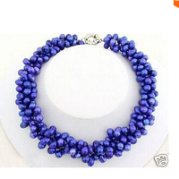 3rows Saltwater Brightness Blue Pearl Necklace 16 Aaa Factory Wholesale Price Women Giftword Jewelry