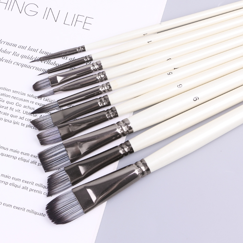 10Pcs Nylon Hair Round Brush Hook Line Pen Artist Paint Draw Painting Craft Set