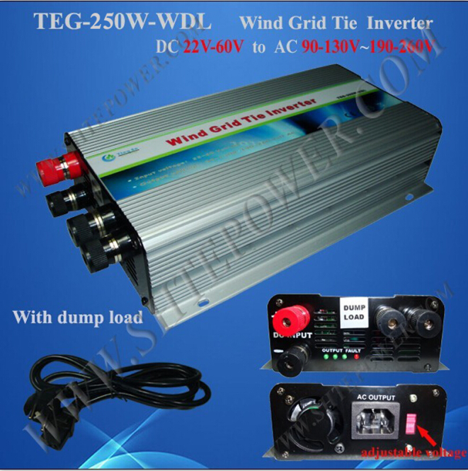 Pure sine wave inverter grid tie 250w 22-60v to 90-130V/190-260 ac output micro inverter 600w on grid tie windmill turbine 3 phase ac input 10 8 30v to ac output pure sine wave