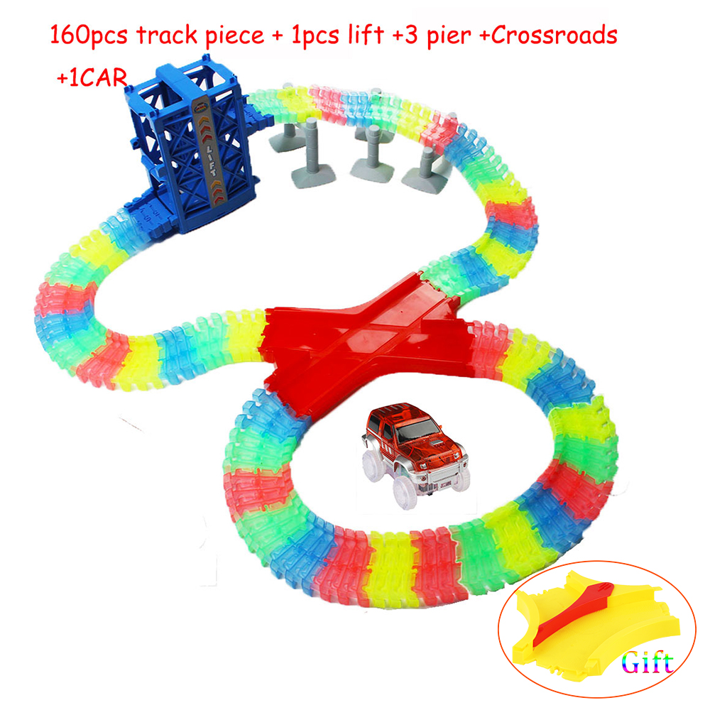 160pcs Mini Race DIY Glow Track Collection LED Car Toy Speeding Way Mni 4 Plastic Car Ramp Racing Track Hot Kid Birthday Gift