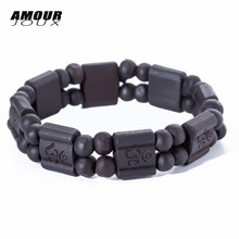 AMOURJOUX Dark Light Wide Square Shape Wood Beads Chain Bracelet Sting Elastic Bracelets For Men Women(China)
