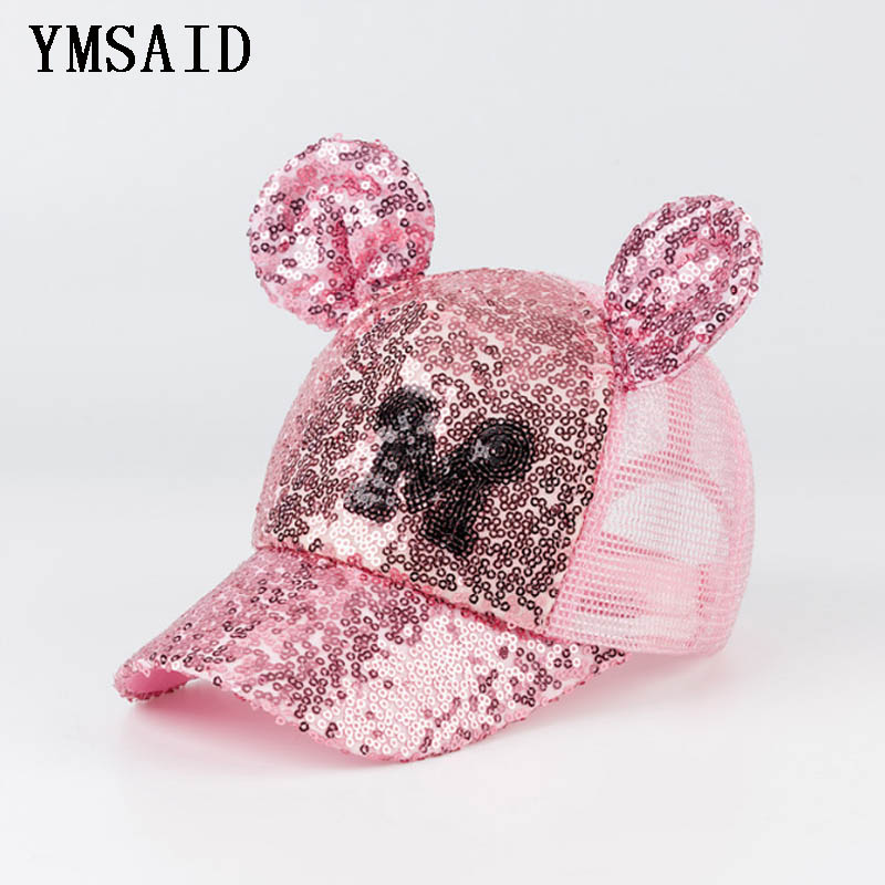 2018 Baby Girls Sequins M LOGO Horn   Baseball     Caps   Children Snapback Mesh Summer Adjustable Sun Hats Decoration
